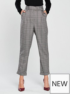 warehouse-circle-belted-peg-trouser-checked-printnbsp