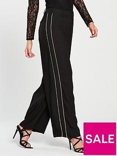 warehouse-diamanteacutenbspstripe-wide-leg-trouser-black