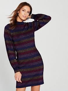 warehouse-stripe-sleeve-lurex-raglan-dress-multinbsp