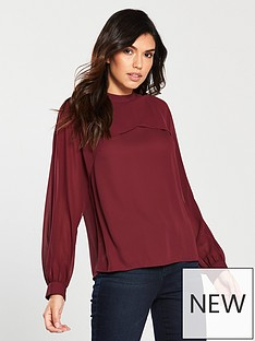 warehouse-chiffon-cape-top-red