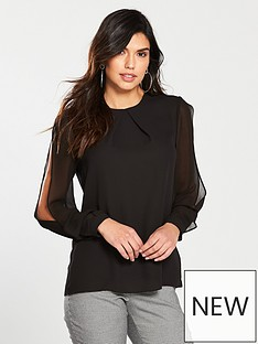 warehouse-chiffon-split-sleeve-top-black