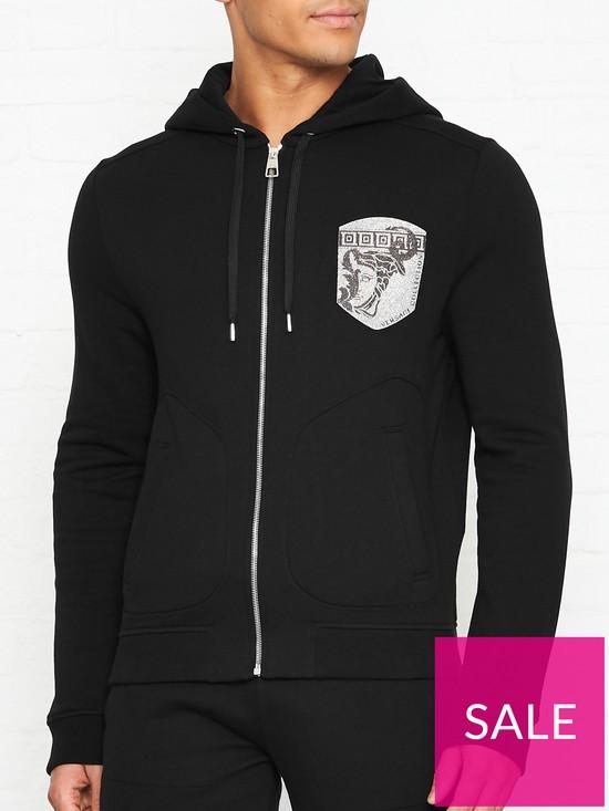 206cf7b1 Medusa Logo Zip Through Hoodie - Black