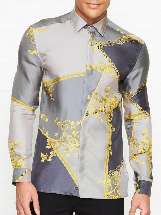 b1378da3cb69f6 VERSACE COLLECTION Baroque Print Silk Shirt - Grey | very.co.uk