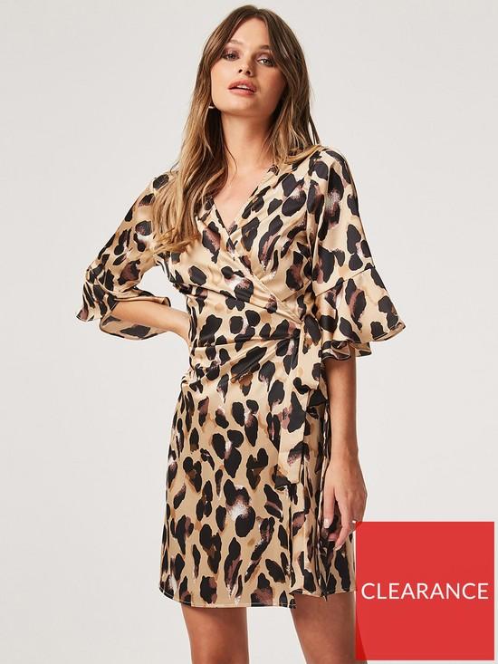 498158a99de Girls on Film Satin Wrap Dress - Leopard Print