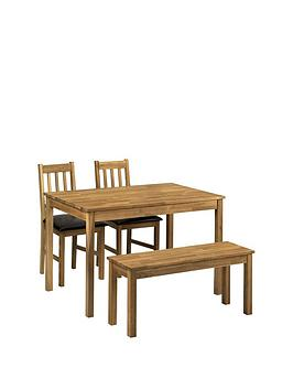 Julian Bowen Coxmoor 118 Cm Solid Oak Dining Table + 2 Chairs + Bench