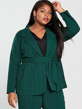 Girls On Film Curve Stripe Blazer With Tie Waist - Emerald Green