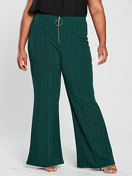 Girls On Film Curve Stripe Wide Leg Trouser With Zip Up Front - Emerald Green