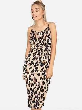 Girls On Film  Leopard Print Satin Slip Dress - Animal Print