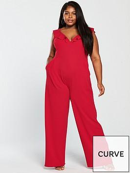 girls-on-film-curve-frill-shoulder-wide-leg-jumpsuit-red
