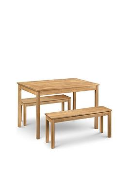 Julian Bowen Coxmoor 118 Cm Solid Oak Dining Table + 2 Benches
