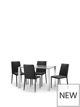 julian-bowen-enzo-120cm-glass-and-chrome-dining-table-4-faux-leather-chairs-black