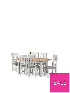 8147669873 Julian Bowen Richmond 140 - 180 cm Extending Solid Wood and Veneer Dining  Table + 6 Chairs