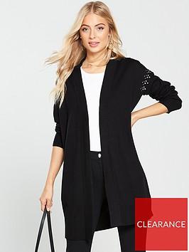 wallis-stud-shoulder-longline-cardigan-blacknbsp