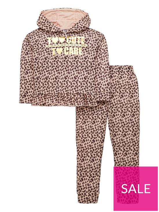 7bca1976a050 Mini V by Very Girls Soft Animal Print Hooded Sweat Top and Joggers 2 Piece  Outfit - Multi