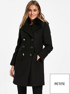 wallis-petite-faux-fur-collar-coat