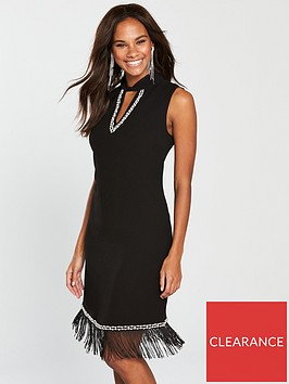 wallis-embellished-fringe-dress-black