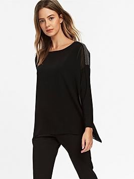 wallis-petite-wave-trim-layered-blouse-black