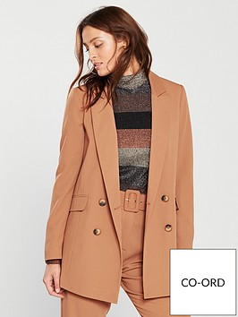 wallis-pique-double-breasted-blazer-toffee