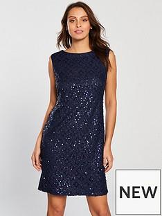 wallis-sequin-lace-shift-dress