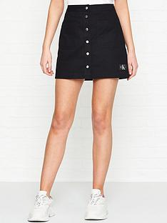 calvin-klein-jeans-buttoned-cotton-mini-skirt-black