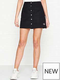 calvin-klein-jeans-buttoned-cotton-mini-skirt-black