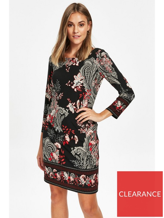 948765c4075e6f Wallis Petite Black Paisley Print Shift Dress