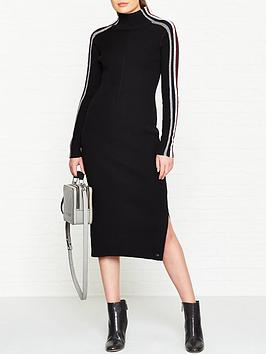 tommy-hilfiger-iconsnbspmocknbspneck-midi-dress-black
