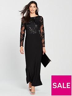 wallis-mesh-sequin-maxi-dress-black
