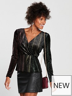 warehouse-glitter-wrap-velvet-top-blacknbsp