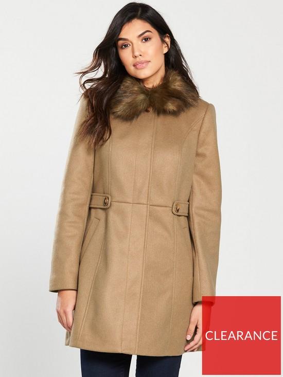 dea170a8295a Oasis Oasis Holly Princess Faux Fur Collar Coat