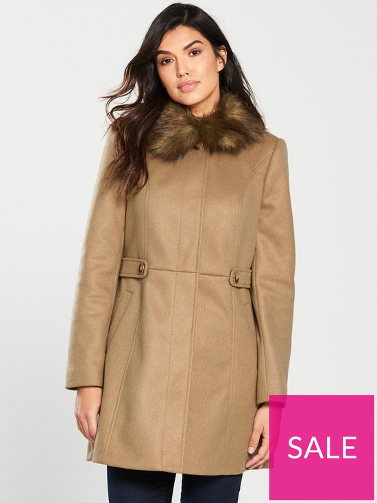55c83946134d Oasis Oasis Holly Princess Faux Fur Collar Coat | very.co.uk