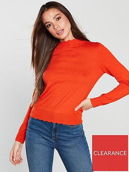 oasis-mini-scallop-turtle-neck-knitted-top-red-orange