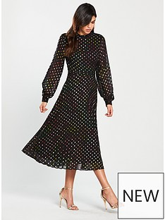 warehouse-multi-foil-spot-pleated-dress