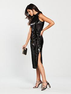 warehouse-high-neck-sequin-splitnbspmidi-dress-black