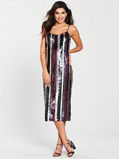 warehouse-sequin-stripe-cami-dress-multi