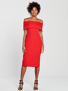 oasis-bardot-midi-dress-red