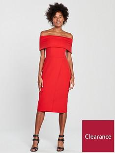 oasis-bardot-midi-dress-red