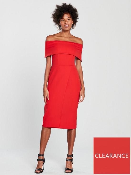 362f1639bed Oasis Bardot Midi Dress - Red