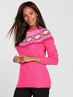 oasis-abigail-nordicnbspfairisle-knitted-jumper-neon-pink
