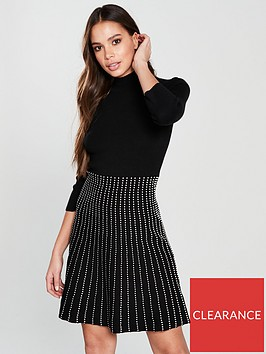 oasis-line-and-dot-knitted-midi-dress-black-white