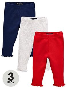mini-v-by-very-baby-girls-3-pack-navy-rednbspand-grey-ribbed-frill-bottoms-multi-coloured