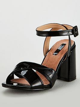 278fc9281163 lost ink wide fit florence twist strap block sandal - black