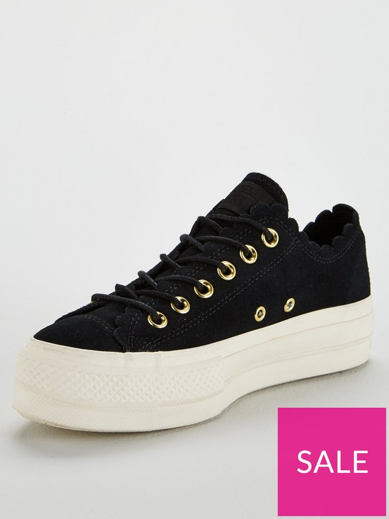825178aea1d Converse Chuck Taylor All Star Lift Suede Ox - Black/White   very.co.uk