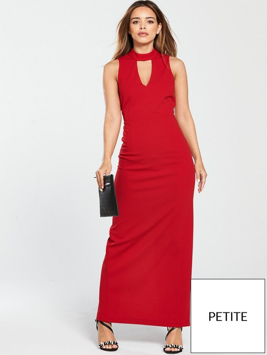 24b01bf788 V by Very Petite High Neck Maxi Dress - Red | very.co.uk