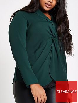 ri-plus-twist-front-blouse-green