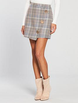 river-island-river-island-check-wrap-mini-skirt-brown