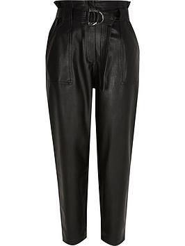 Ri Petite Pu Belted Peg Trouser - Black