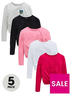 V by Very 5 Pack Twist Front Long Sleeve T-Shirts - Multi 6c9a82275