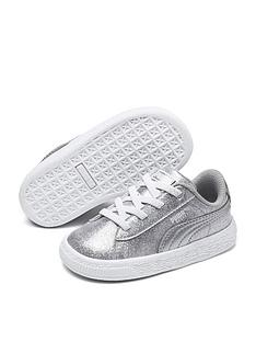 45a198f1b68 Puma Basket Metallic Children Trainers - Silver White