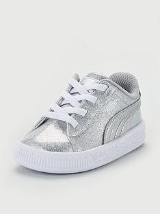 033277a7adcd Puma Basket Metallic Infant Trainers - Silver White